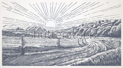 Obraz Rural landscape with village in engraving style. Vector Illustration.
