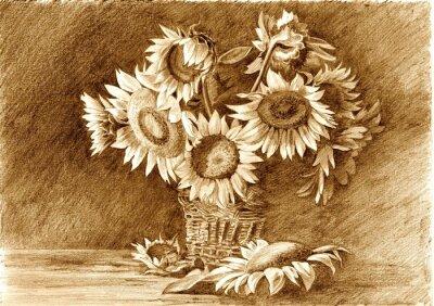 Obraz Rysunek ołówkiem z bukietem słoneczników w wazonie bliska