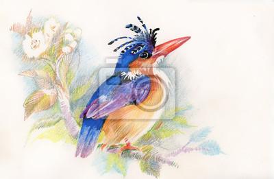 Rysunek pięknym jasnym ptaków i kwiatów