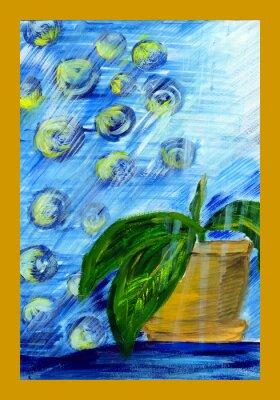 Obraz Rysunek plantator z kwiatem