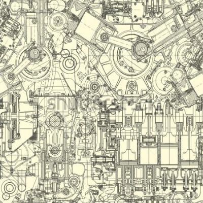 Obraz Rysunek wzór silnika, tło. Wzór może być używany do tapet, wzór wypełnienia tła strony internetowej, powierzchni.
