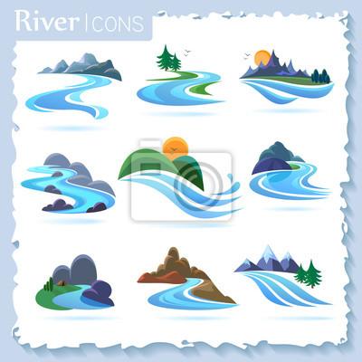 Obraz Rzeka i krajobrazowe ikony