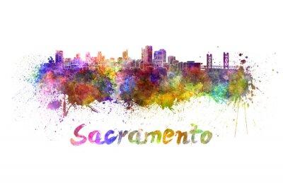 Obraz Sacramento skyline w akwareli