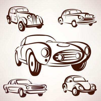 Obraz Samochody retro kolekcja wektor racz elementów fro etykiet i emble