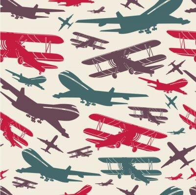 Obraz Samolot retro bezszwowe szablonu, stare tło teksturowane dla plakatu