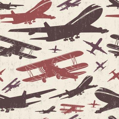 Obraz Samolot retro szablon bez szwu
