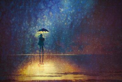 Obraz Samotna kobieta pod parasolem światła w ciemności, cyfrowego obrazu
