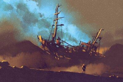 Obraz Scena nocy opuszczonym statku na pustyni z nieba, ilustracji Stary malarstwa