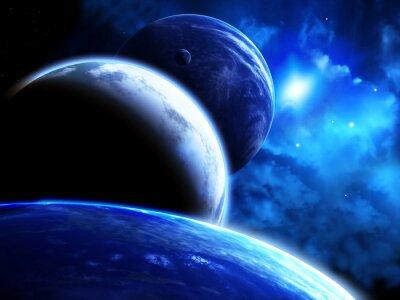 Obraz Scena piękne miejsca z parady planety i Mgławica