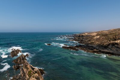 Scenic view of the coastline near Almograve, at the Vicentine Coast, in Alentejo, Portugal.