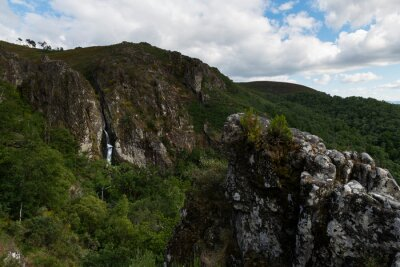 Scenic view of the waterfall at the vilage of Pitoes das Junias in Montalegre, Portugal.