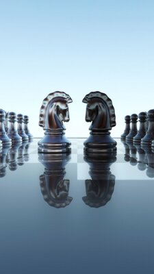 Obraz Schachbrett Konzept - Springer Duell