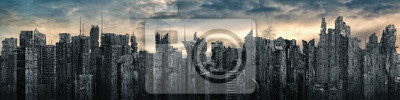 Obraz Science fiction city dystopia panorama / 3D illustration of futuristic post apocalyptic sci-fi city ruins under bright sky