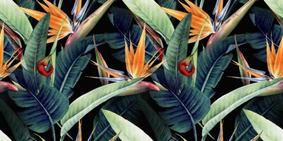 Obraz Seamless floral pattern with tropical leaves and strelitzia on red background. Template design for textiles, interior, clothes, wallpaper. Watercolor illustration