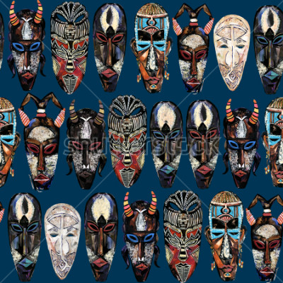 Obraz seamless pattern with african mask. hand drawn ethnic tribal totem background