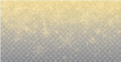 Obraz Seamless realistic falling gold snow or snowflakes. Isolated on transparent background - stock vector.