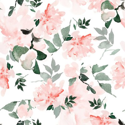 Obraz Seamless summer pattern with watercolor flowers handmade.