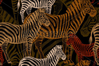 Obraz Seamless vector pattern with African animals. Colored Zebra on a black background. Template to create fabric, Wallpaper, paper, textiles, curtains, design summer clothes in the style of Safari.