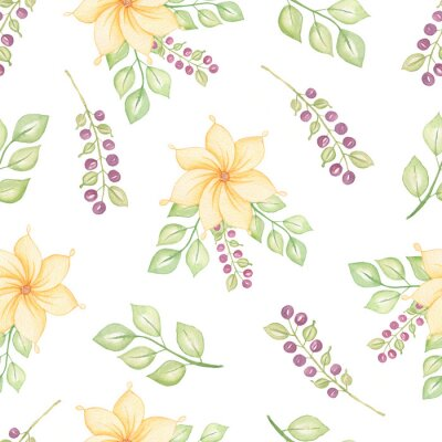 Seamless watercolor floral pattern on a white background.Yellow flowers with green leaves and branches and berries.