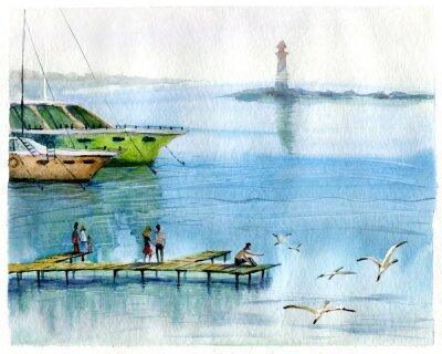 Obraz Seascape, jachty, akwarela
