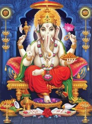 Obraz seated throne  Ganesha hindu lord faith mythology  illustration