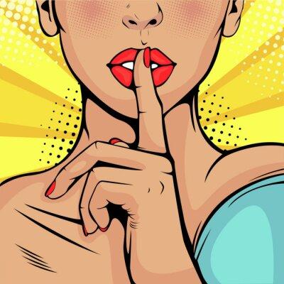 Obraz Sekretna cisza dziewczyna. Piękna kobieta przyłożyła palec do ust, domagając się ciszy. Kolorowe tło w stylu retro komiks pop-artu.