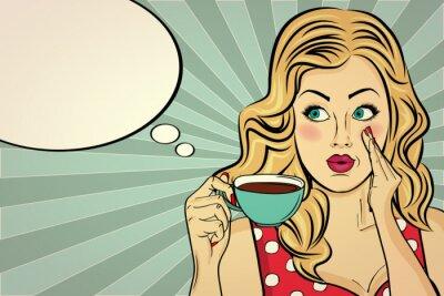 Obraz Seksowna blondynka pop-artu, kobieta z filiżanki kawy