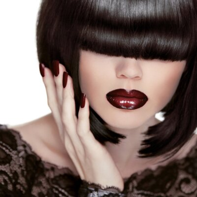 Obraz Seksowne usta. Manicure i makijaż. Szminka. Fashion Girl. Fringe.