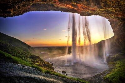 Obraz Seljalandfoss from behind cave interior, Iceland