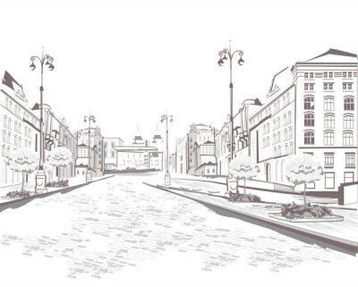 Obraz Seria widoków ulic w starej części miasta, szkicu
