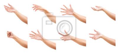 Obraz Set mężczyzna ręki odizolowywać na białym tle