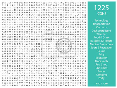 Obraz Set of 1225 vector icons