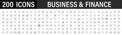 Obraz Set of 200 Business icons. Business and Finance web icons in line style. Money, bank, contact, infographic. Icon collection. Vector illustration.