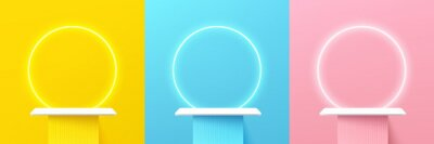 Obraz Set of abstract 3d shelf or white stand podium on yellow, blue, pink wall scene pastel color with neon ring background. Vector rendering geometric shape for cosmetic product display presentation.