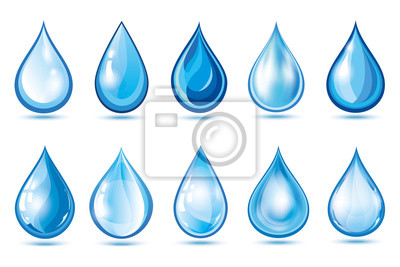 Obraz Set of blue water drops over white