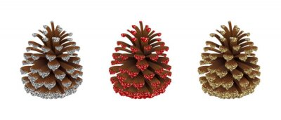 Obraz set of christmas decorations. isolated pine cones with red, silver and gold glitters