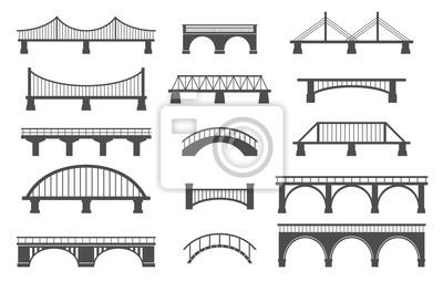 Obraz Set of different bridges. Isolated on white background. Black and white. Vector illustration.