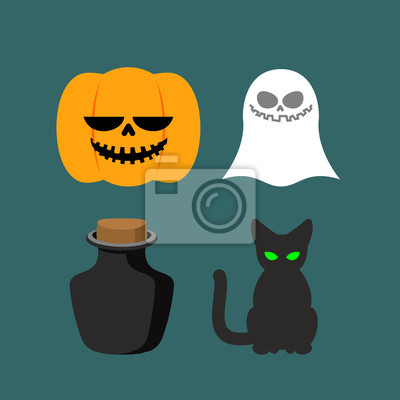 Obraz Set of icons for Halloween. Symbol dreaded holiday: Ghost and bl