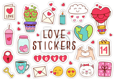 Obraz set of isolated love stickers part 1 - vector illustration, eps
