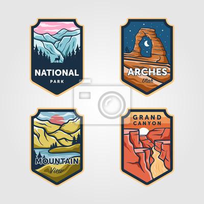 Obraz Set of vector national park outdoor adventure vintage logo emblem illustration designs