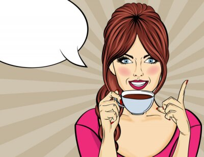 Obraz Sexy kobieta pop-artu z filiżanki kawy