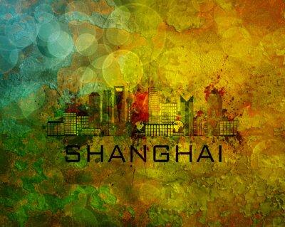 Obraz Shanghai City Skyline na tle grunge Ilustracja