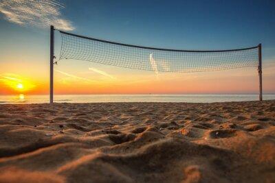 Obraz Siatkówka netto i wschód słońca na plaży