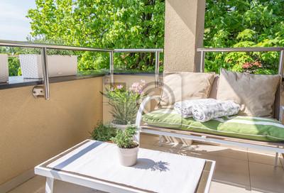 Obraz Siedzenia Balkon z kwiatami śródziemnomorskich
