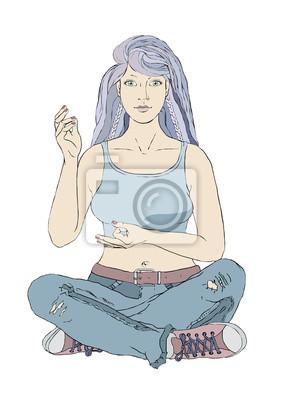 siedzi młoda kobieta