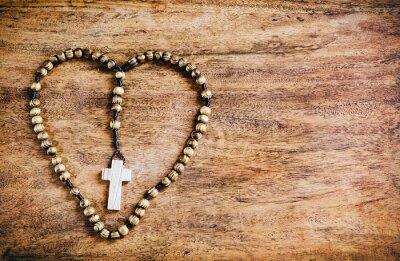 Obraz Simple Cross Inside Heart Shape - Rustic