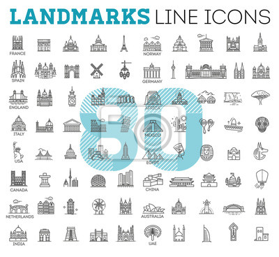 Obraz Simple linear Vector icon set representing global tourist landmarks and travel destinations for vacations