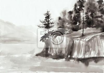 Skały i jezioro