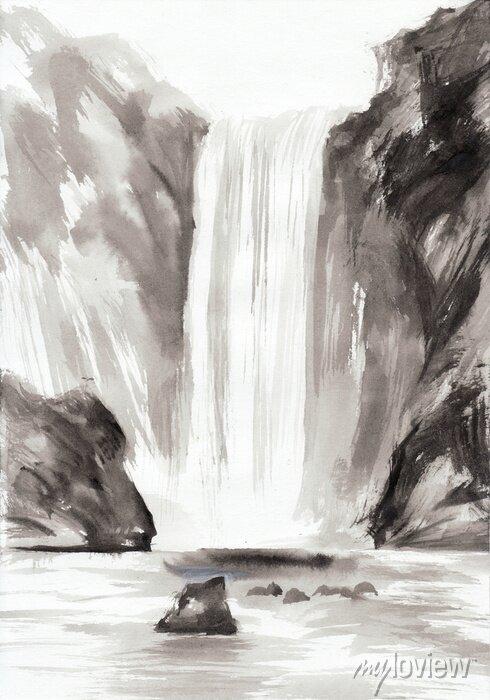 Obraz Skały i wodospad