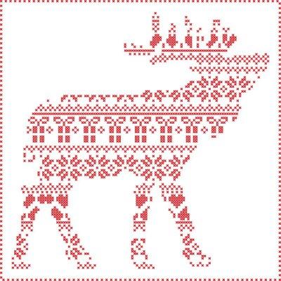 Obraz Skandynawski Nordic zimą szwy dziania Narodzenie wzór w kształcie renifera w organizmie, w tym płatki śniegu, serca Xmas drzew Boże Narodzenie prezenty, śnieg, gwiazdy, ozdoby dekoracyjne 2